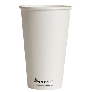 Hot Cup PLA Single Wall 16oz 90mm White - Ecoware