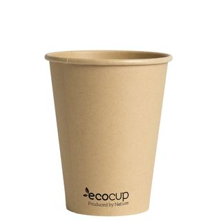Hot Cup PLA Single Wall 12oz Kraft 90mm - Ecoware