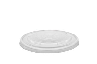 Hot Container Flat Lid 115mm (Fits 12-32oz) - Vegware - Pack or Carton