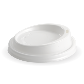 Hot Cup PS Lid Large (To Fit 6, 8, 10 &12oz) 90mm White - BioPak