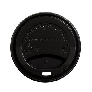 Lid for Hot Cup Compostable 12oz & 16oz 90mm Black - Ecoware