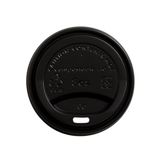 Lid for Hot Cup Compostable 8oz 80mm Black - Ecoware