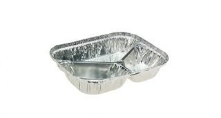 Rectangle 3-Compartment Foil Tray With Lid - Uni-Foil