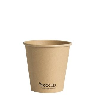Hot Cup PLA Single Wall 6oz Kraft 80mm - Ecoware