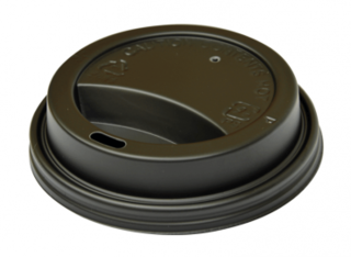 SnapOn Classic Hot Cup Lid BLACK (suit 12oz, 16oz Classic Single Wall Cups) 90 mm - Castaway