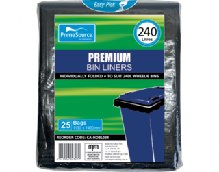 Easy-Pick' 240L Premium Wheelie Bin Liners, Individually Folded - Castaway