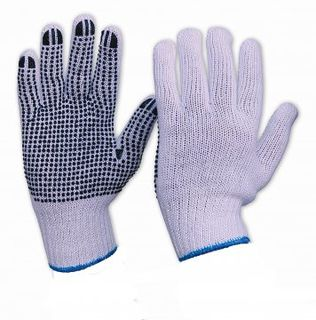 Knitted poly/cotton glove, White with PVC dots - Esko