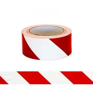 ESKO Floor Aisle Tape, Red/White, 50mm x 33mtrs  - Esko