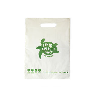 Punched Handle Bag Compostable Small 26x34cm - Ecobags - Pack or Carton