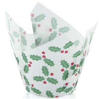 Texas Muffin Wrap - Christmas Holly (500 ctn) - Confoil