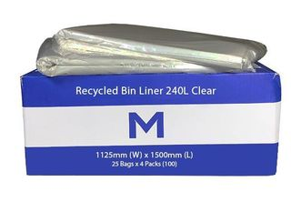 Large Wheelie Bin Liner 240L Clear Recycled - Matthews