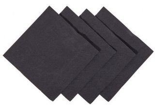 Cocktail Napkins 1/4 Fold - Black, 240mm x 240mm, 2 Ply - Matthews