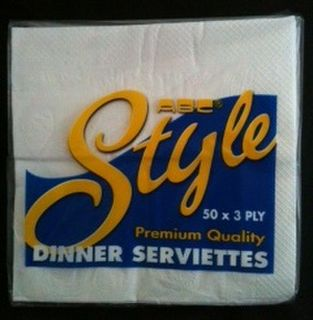 Dinner Serviettes White 3ply - pack 50 - Style