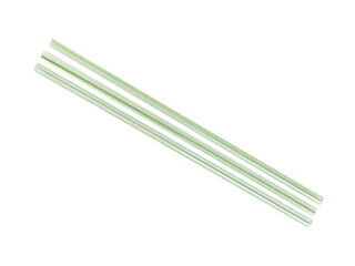 Straws PL 5mm Clear with Green Stripe - Vegware - Pack & Carton