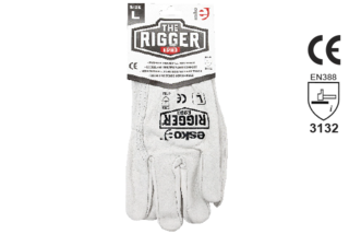 Leather Rigger Glove Premium Cowhide Header Card - Esko The Rigger