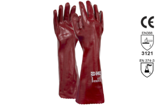 PVC Single Dipped Gauntlet Glove 45cm - Esko Red Shield