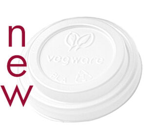 Hot Cup Lid 62mm CPLA (Fits 4oz Cup) - Vegware - Pack & Carton