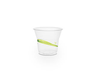 Cold Cup PLA Slim 5oz 150ml Green Stripe - Vegware - Pack & Carton