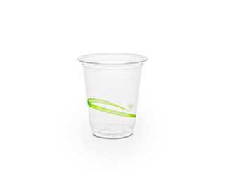 Cold Cup PLA Slim 7oz 220ml Green Stripe - Vegware - Pack & Carton