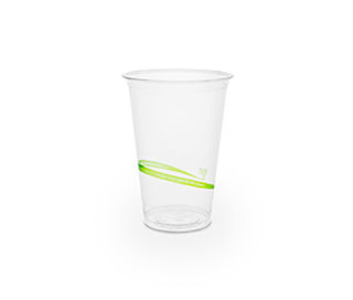 Cold Cup PLA Slim 9oz 280ml Green Stripe - Vegware - Pack & Carton