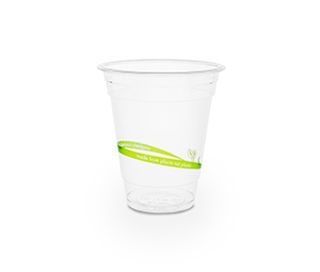 Cold Cup PLA Standard 12oz 390ml Green stripe - Vegware - Pack & Carton