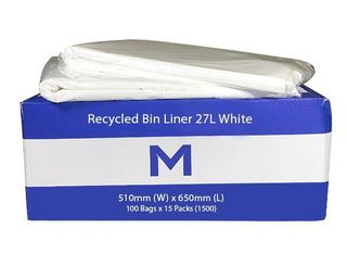 Office Bin Liner Medium 27L White