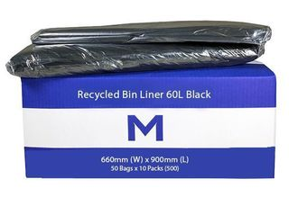 Rubbish Bag Bin Liner 60L Black
