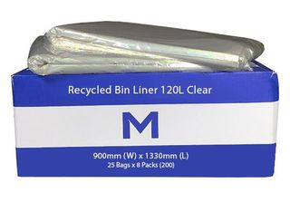 Small Wheelie Bin Liner 120L Clear