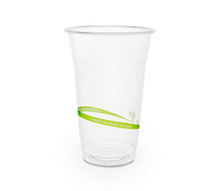 20oz 630ml standard PLA cold cup Green Stripe - Vegware - Pack & Carton