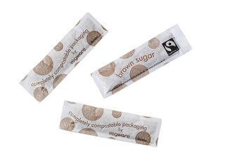 Fairtrade brown sugar sticks, compostable wrap - Vegware