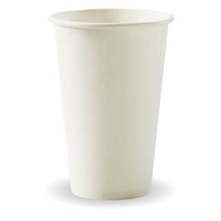 12oz Coffee Cups White (80mm) Single Wall - BioPak
