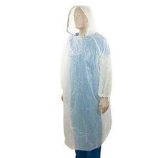 PE Full Length Splash Jacket with Hood - White - Bastion