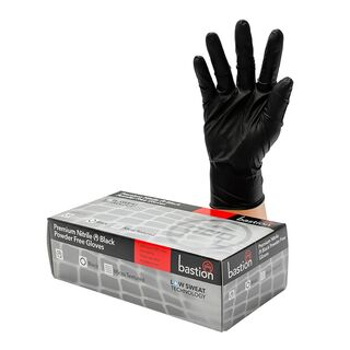 Bastion Nitrile Black PowderFree Gloves - UniPak