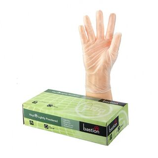 Bastion Vinyl Powdered Clear Gloves - UniPak