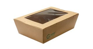 Take Away Box with Window Kraft PLA Large - Green Choice