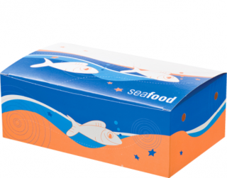 Large Seafood Snack Boxes, Printed 'Seafood', Bulk Packed