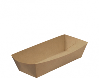 Rediserve' Brown Kraft Paper Hot Dog Trays Hot Dog, Brown Kraft - Castaway