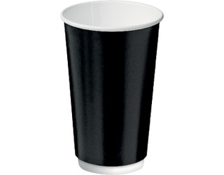 16oz Black Double Wall Paper Hot Cup