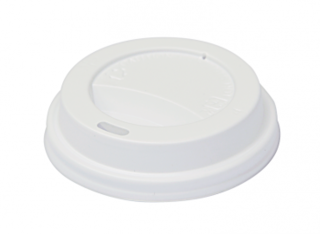 SnapOn Classic Hot Cup Lid WHITE (suit 6oz, 8oz Classic Single Wall Cups) 80mm - Castaway