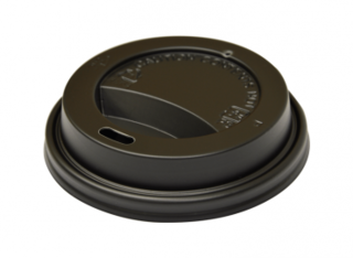SnapOn Classic Hot Cup Lid BLACK (suit 6oz, 8oz Classic Single Wall Cups) 80 mm - Castaway