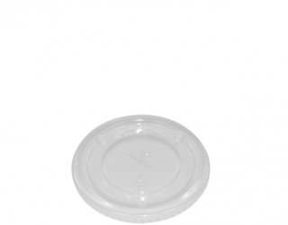 Costwise' P.E.T Cold Cup Lid Flat, with straw slot (suit 285 & 340ml cups) - Castaway