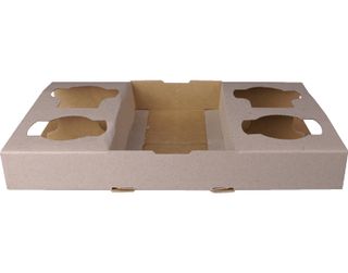 4 Cup Carry Tray,  Die-cut cardboard, Natural (suit 8 - 24oz Cups) - Castaway