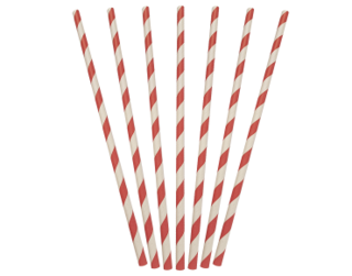 Paper Regular Straws, Red & White Stripe (205 x 6 mm) - Castaway
