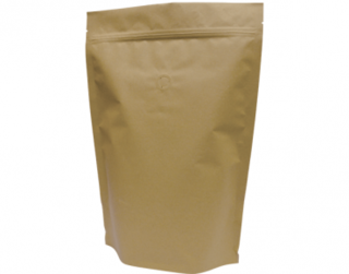 1kg Stand-Up Coffee Pouch, Rip-Top & Resealable Zipper, Brown Kraft - Castaway