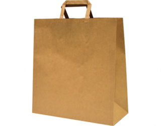Paper Carry Bag with Flat Paper Handle, Large, Brown 320W x 340L x 140G - Castaway
