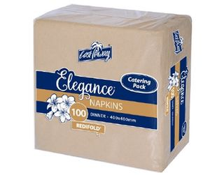 Elegance' Dinner Napkins Catering Pack, RediFold', Brown Kraft - Castaway