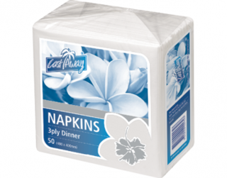 3 Ply Dinner Napkins, Quarter Fold, White - Castaway
