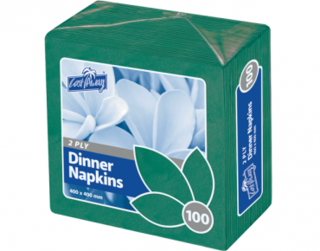 2 Ply Dinner Napkins, Quarter Fold, Pine Green