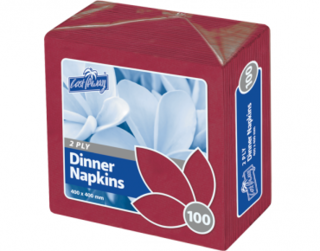 2 Ply Dinner Napkins, Quarter Fold, Wine Red