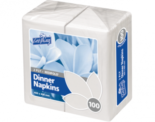 2 Ply Dinner Napkins, RediFold', White